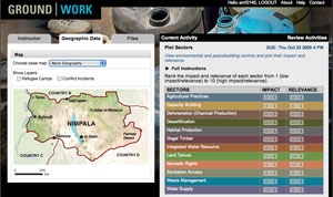 Screen shot of simulation tool used in environment and conflict class