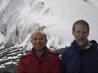 Xiaoshi Xing and Ronald Briggs visit the Tianshan Glacier No 1 at the Urumqui River, China