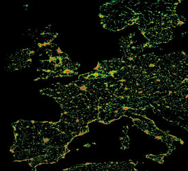 Photograph from satellite data showing nighttime lights throughout Europe.