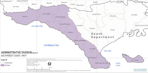 A map of southwestern Haiti showing the area of intervention of the Côte du Sud Initiative, Haiti. Source: CIESIN, 2010
