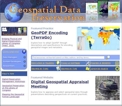 Screenshot of the homepage of the Geospatial Data Preservation Resource Center