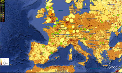 Map of population density in reaction to nuclear reactors worldwide.