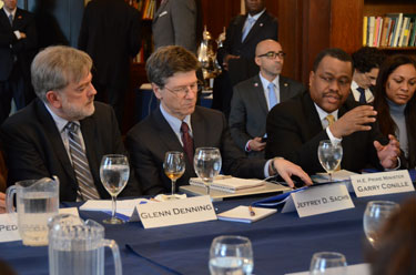 Photo left to right of Glenn Denning, Jeffrey Sachs, and Haiti prime minister Gary Conille