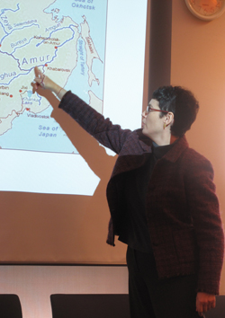 Elizabeth Wishnick points to map of Amur River in Mongolia, February 7, 2011