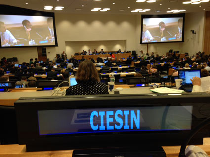 photo from UN-GGIM Meeting shows banner of CIESIN
