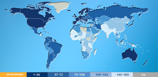 Screenshot from EPI report cover showing global world map with country rankings
