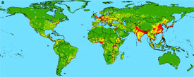 Map of emerging infectious disease hotspots throughout the world