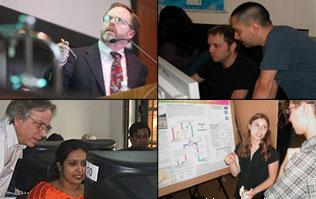 four-paneled image of CIESIN staff and interns in trainings and giving presentations